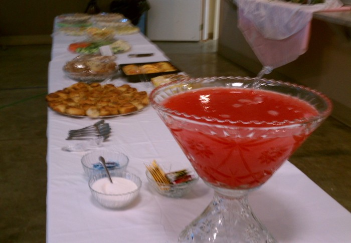 Yummy hors d'oeuvres and punch at ladies' tea