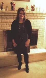 Me in my olive green dress, little black jacket, and tall black boots, the night before the conference when our team went out to dinner