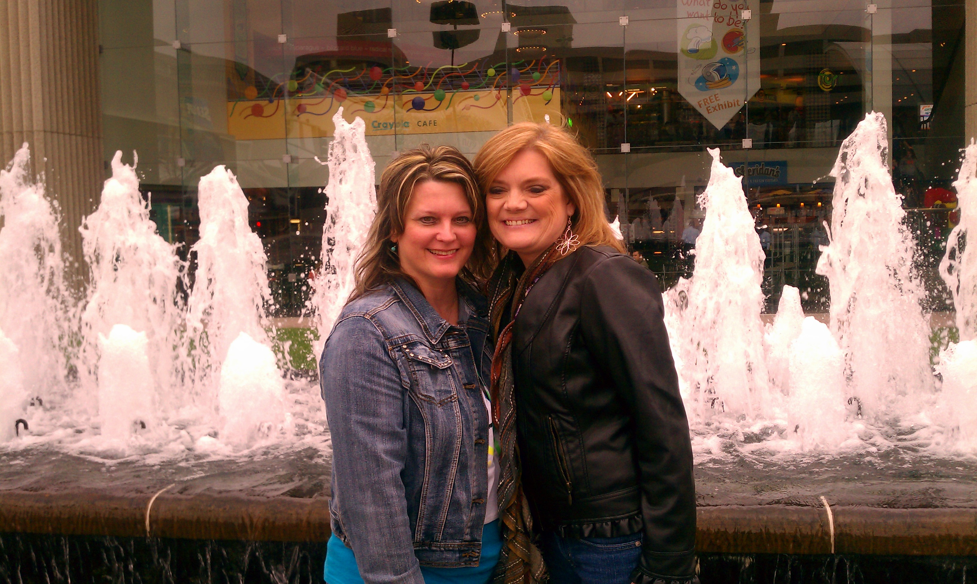 Me and my precious friend Shelley Valasek, at the fountains by Crowne Center, Kansas City, MO